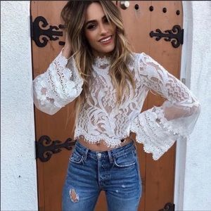 !Now In! Gorgeous Lantern Sleeve Lace Detail Top